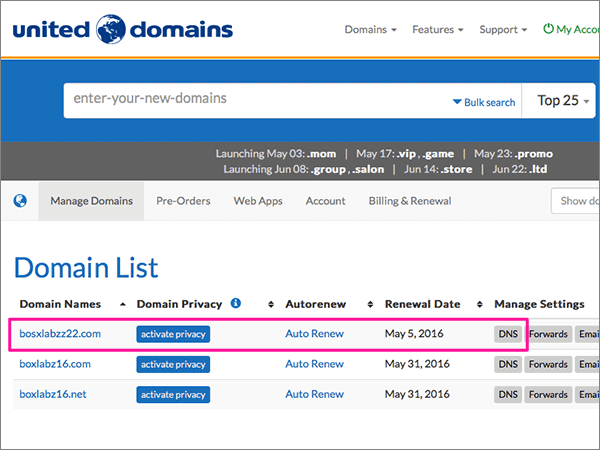 add records at united domains to set up your sharepoint
