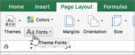 Theme fonts on the layout tab