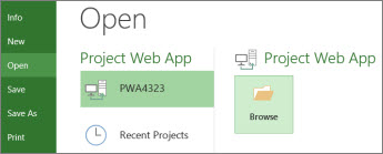 Browse button for opening a Project Web App file
