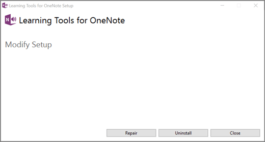 Select Repair under Learning Tools for OneNote.