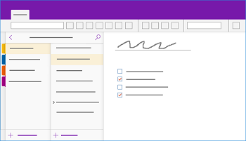 Shows the OneNote for Windows 10 window
