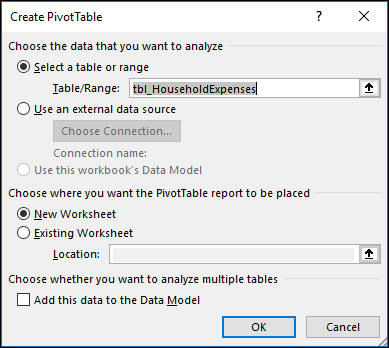Excel Create PivotTable dialog