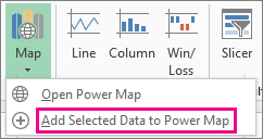 Add Selected Data to Power Map command