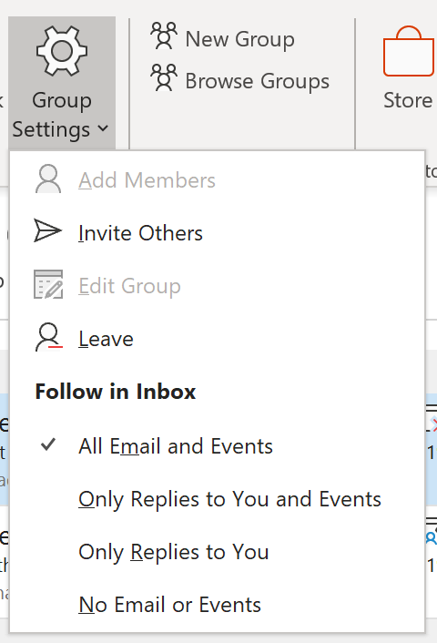 An image displaying settings for Group Inboxes showing options to receive all email and events, only replies to you and events, only replies to you, or no email and events in your inbox.