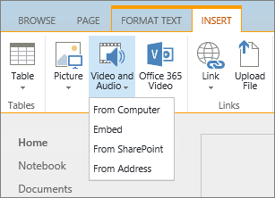 Screenshot of the SharePoint Online ribbon. Select the Insert tab and then select Video and Audio to specify whether to add a file from your computer, a SharePoint location, a web address, or via an embed code.