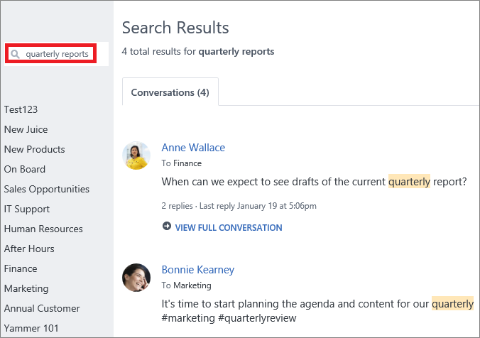 A typical Yammer search