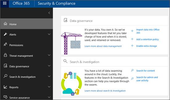 Office 365 Security & Compliance Center home page