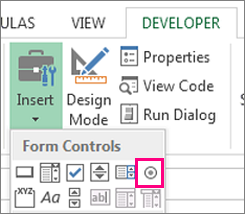 the radio button and checkbos control in Excel 2019