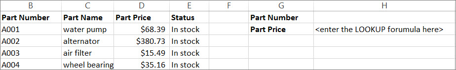 An example of how you might use the LOOKUP function