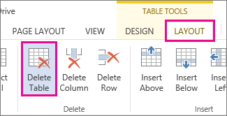 Image of Delete button available from Layout tab under Ribbon Tools.
