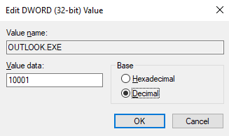 Select the Decimal value and enter 10001.