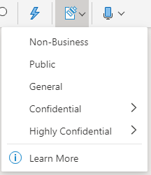 Sensitivity button and dropdown menu in Office on the web
