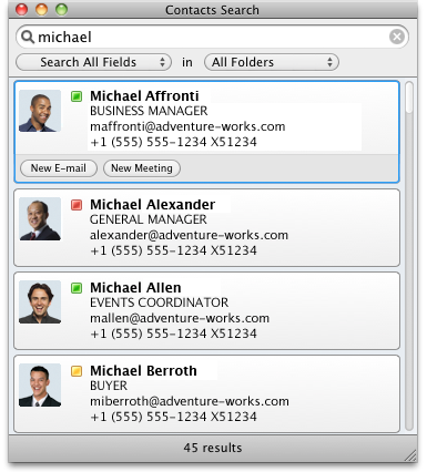 Contacts Search dialog