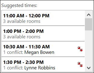 Use the Suggested Times picker to see when attendees are available.