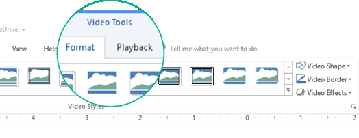 "When a video is selected on a slide, a ""Video Tools"" section appears on the toolbar ribbon, and it has two tabs: Format and Playback."