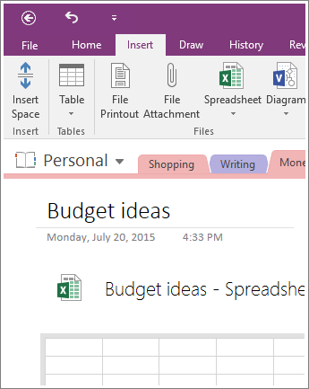 Screenshot of a new spreadsheet in OneNote 2016.