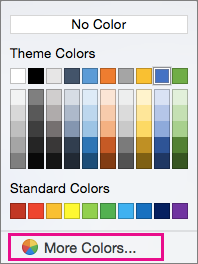 Shading color options with More Color highlighted.