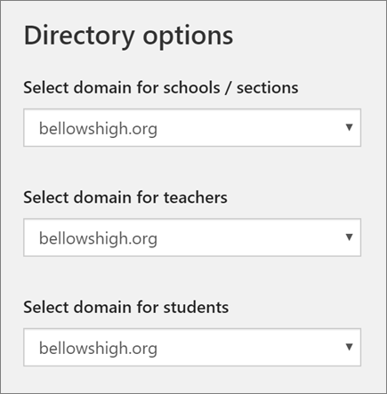 Screenshot of domain selection for schools/sections, teachers, and students in School Data Sync
