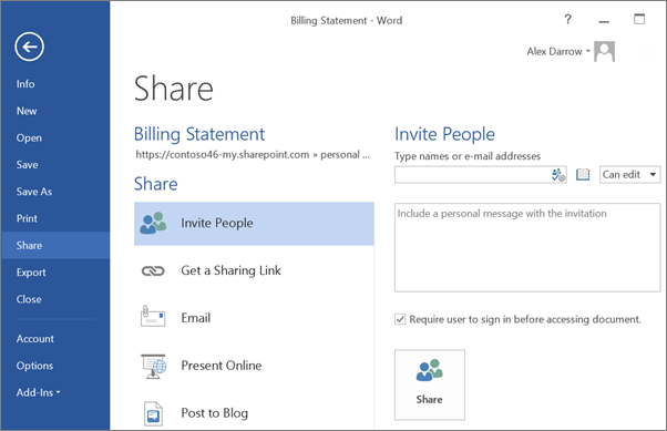 Sharing files with others with onedrive astute network technology
