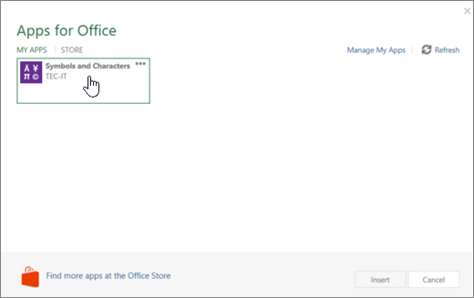 Screenshot shows the My Apps tab of the Apps for Office page.