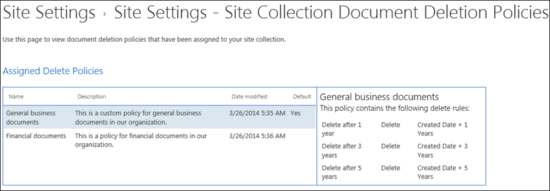 View of document deletion policies assigned to a site collection
