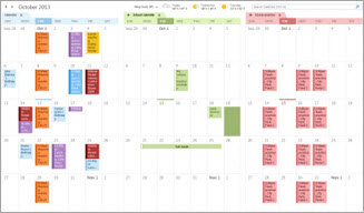 Example of three calendars side by side