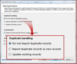 Import window, duplicates section