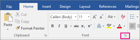 The arrow that launches the Font dialog box is highlighted on the Home tab