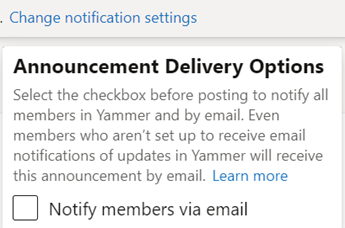 Screenshot showing how to designate an announcement as essential