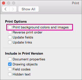 In the Print dialog box, Print background colors and images is highlighted