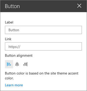 Button web part property pane