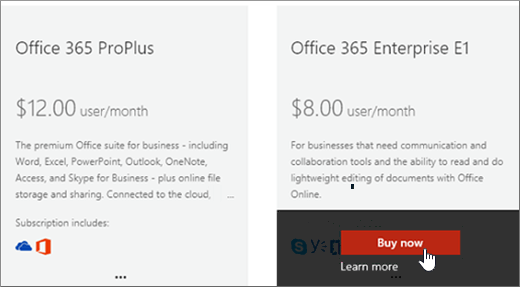 Buy now link on the purchase services page of the Office 365 admin center.