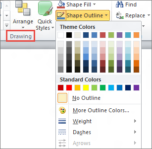 PowerPoint 2010 text box shape outline menu