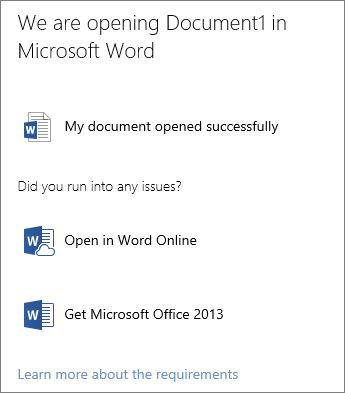 Open in Word dialog box