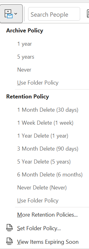 Assign a policy to an item from the ribbon
