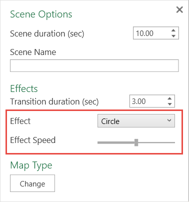 Selection box for Effects