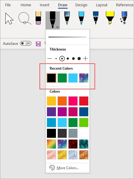 Recent Colors pen option