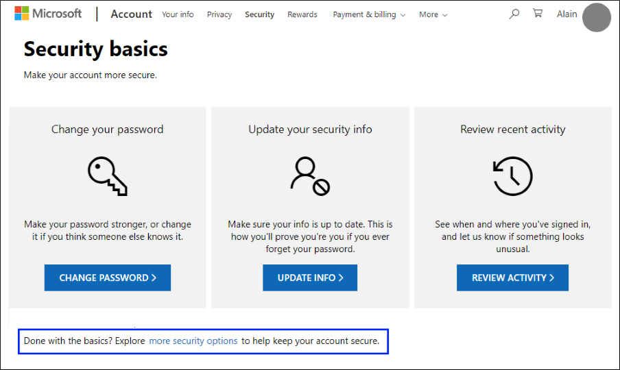 """Security basics page with the """"more security options"""" link highlighted"""