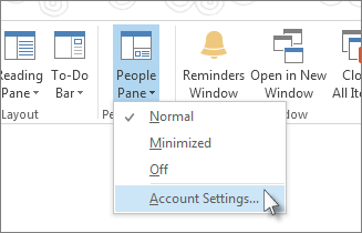 On the View tab, click People Pane, and then click Account Settings