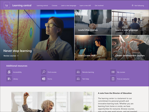 Screenshot of the learning center page preview