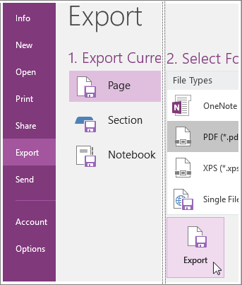Screenshot of how to export a page of notes in OneNote 2016.