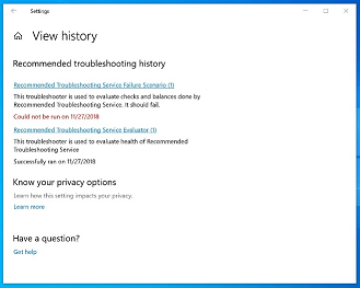 View troubleshooter history