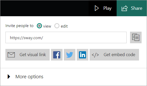 Sway menu from your Microsoft account