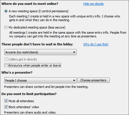 Screenshot of meeting options with options selected for large audience