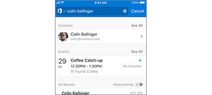 Outlook Mobile calendar with meetings in search results