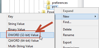 Regedit - New DWORD Value