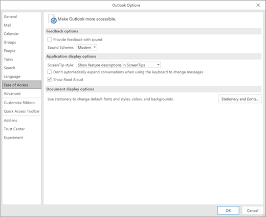 Ease of Access in Outlook settings.