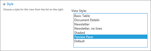 Styles choices in the View settings page