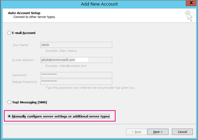 Choose Manually configure server settings or additional service types.