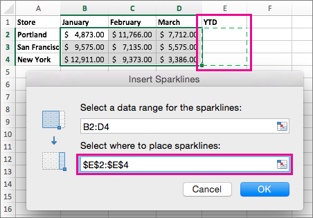 Selecting the destination location for sparklines